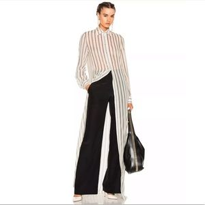 Lavin Ivory Stripe Sheer Silk Georgette Shirt